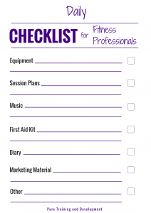 Daily checklist for fitness professionals